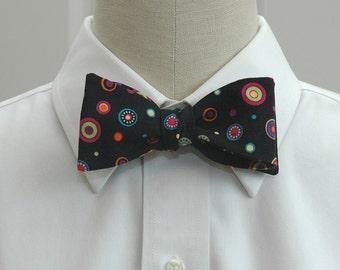 Men's Bow Tie in black with multi color dots (self-tie)