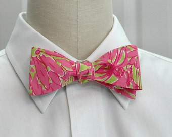 Lilly Bow Tie in pink and green Daiquiri secret garden (self-tie)