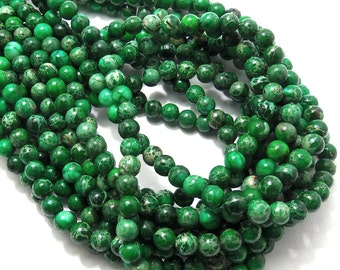 Impression Stone, Green, Round, Smooth, Gemstone Beads, 6mm, Small, Full Strand, 65pcs - ID 1472