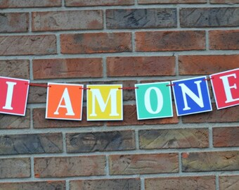 Birthday Banner - I am one , Happy birthday banner ,  first birthday , photo prop primary colors