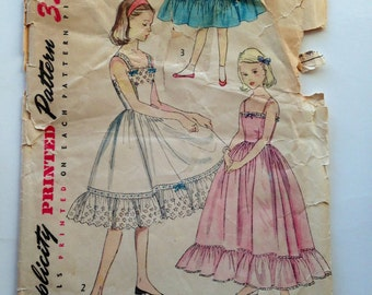 50s Simplicity 4266 Girls Dress Slip Evening or Knee Length, Sleeveless or Strappy - Size 7 Bust 25