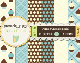 Instant Download - Dottie's Cupcake Social -- 12x12 Digital Printable Paper Pack Blue Yellow Brown -- Buy 3 Digital Paper Packs Get 1 FREE