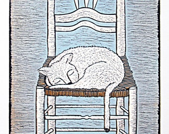 linocut, Cat ,chair, blue and white ,ochre, yellow, printmaking, home interior, country cottage, country style, interior decorating, rushes