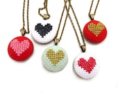 Hand Stitched Custom Petite Heart Necklace