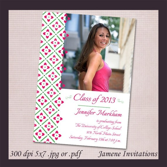 Modern Pink Flowers Photo Graduation Printable Announcement Invitation - Printed version available