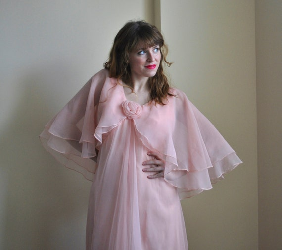 spring dress blush pink 1970s formal dress medium large pink