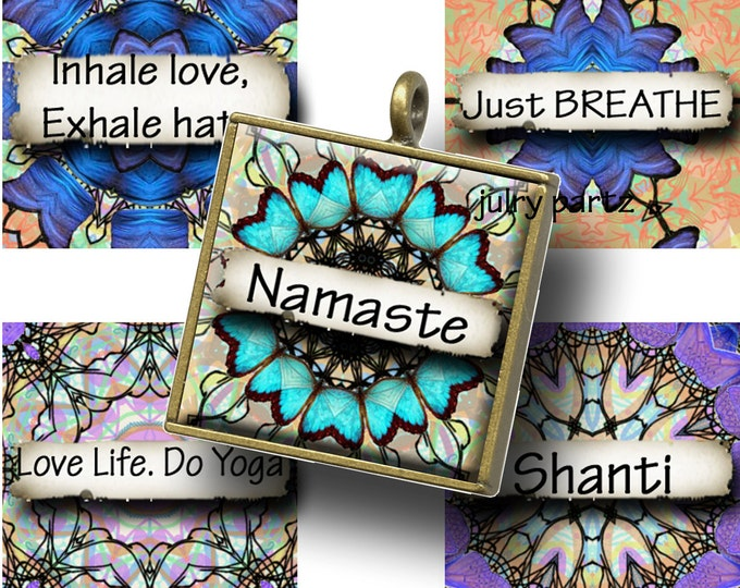 EUPHORIA YOGA with Affirmations, Mandalas ,1x1 Square,Printable Digital Images, Cards, Gift Tags, Scrabble Tiles, Yoga, Meditation