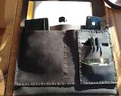 "Barret Organizer, handmade leather case, iPad notebook clutch, 13"" document magazine sleeve, handmade leather cases, holders, organizers"
