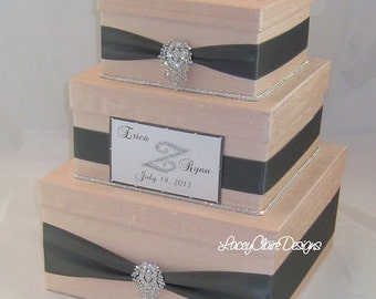 Wedding Card Box Blush and Pewter