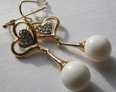 Fashion Jewelry- Lovely Heart shape With Crystal Glass Smooth Gold Plated with White Frosted Ball Dangle  Earrings
