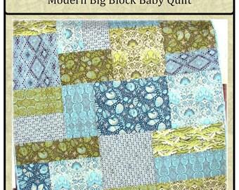 PDF Quilt Pattern Seaworthy Modern Big Block  Baby Quilt pattern Carlene Westberg Designs