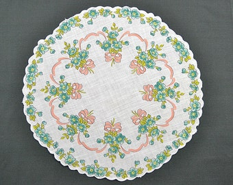 VINTAGE HANKIE, Aqua Flowres on White, Round, Scalloped Edge, Corded, Pinks Bows and Ribbon Garland, Pocket Hankie, Excellent Condition