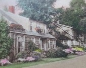 Tinted Real Photo Postcard  - Cottage in Olgunquit , Maine - Whistling Oyster Lane - Pretty Pastel - Flower Garden