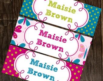 Personalized Waterproof Labels Waterproof Stickers Name Label Dishwasher Safe Daycare Label School Label -Butterflies & Polkadots, 30 labels