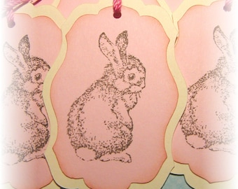 Baby Bunny on pink- Happy Easter- Basket - Gift Tags (6)