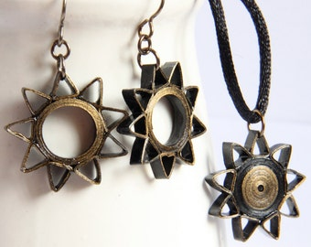 CIJ 30% off SALE Baha'i Jewelry Nine Pointed Star Earrings and Pendant Necklace Set Black and Gold Handmade Eco Friendly
