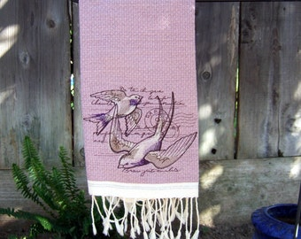 Bath Hand Towel Fringed with Swallows