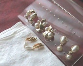 SET of 4 Gold Plated, Faux Pearl Earrings