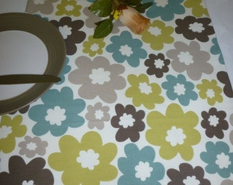 "Table Runner Retro Blue Green Taupe Funky Floral Modern Fabric Dresser/ Coffee/ Console Table Cotton (54"" 137cm)"