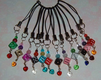 12 DICE Cell Phone / Purse Strap Charms  (Black)-  Bunco Bunko Gifts-  Dice and Hearts