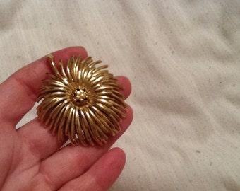 Vintage Gold Flower MONET Pin MONET Brooch
