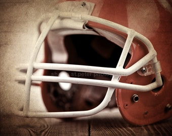Vintage Football Helmet  Orange Photo Print, Decorating Ideas, Wall Decor, Wall Art,  Kids Room, Nursery Ideas, Gift Ideas,
