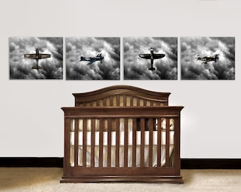 Nursery Decor, Vintage Airplanes, Baby room ideas, Vintage WWII Fighter planes Set of Four Prints