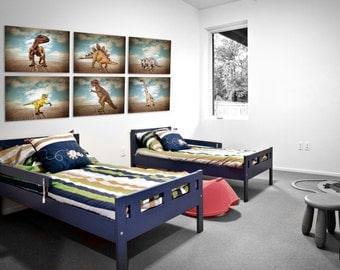 Set of 6 Dinosaur Prints, Boys Room Decor, Dinosaur Art, Dinosaur photos, Boys Room Decor