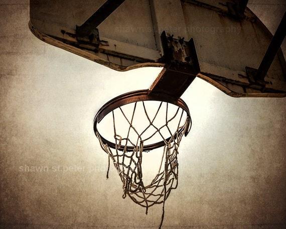 Vintage Basketball Hoop Photo Print Decorating Ideas Wall