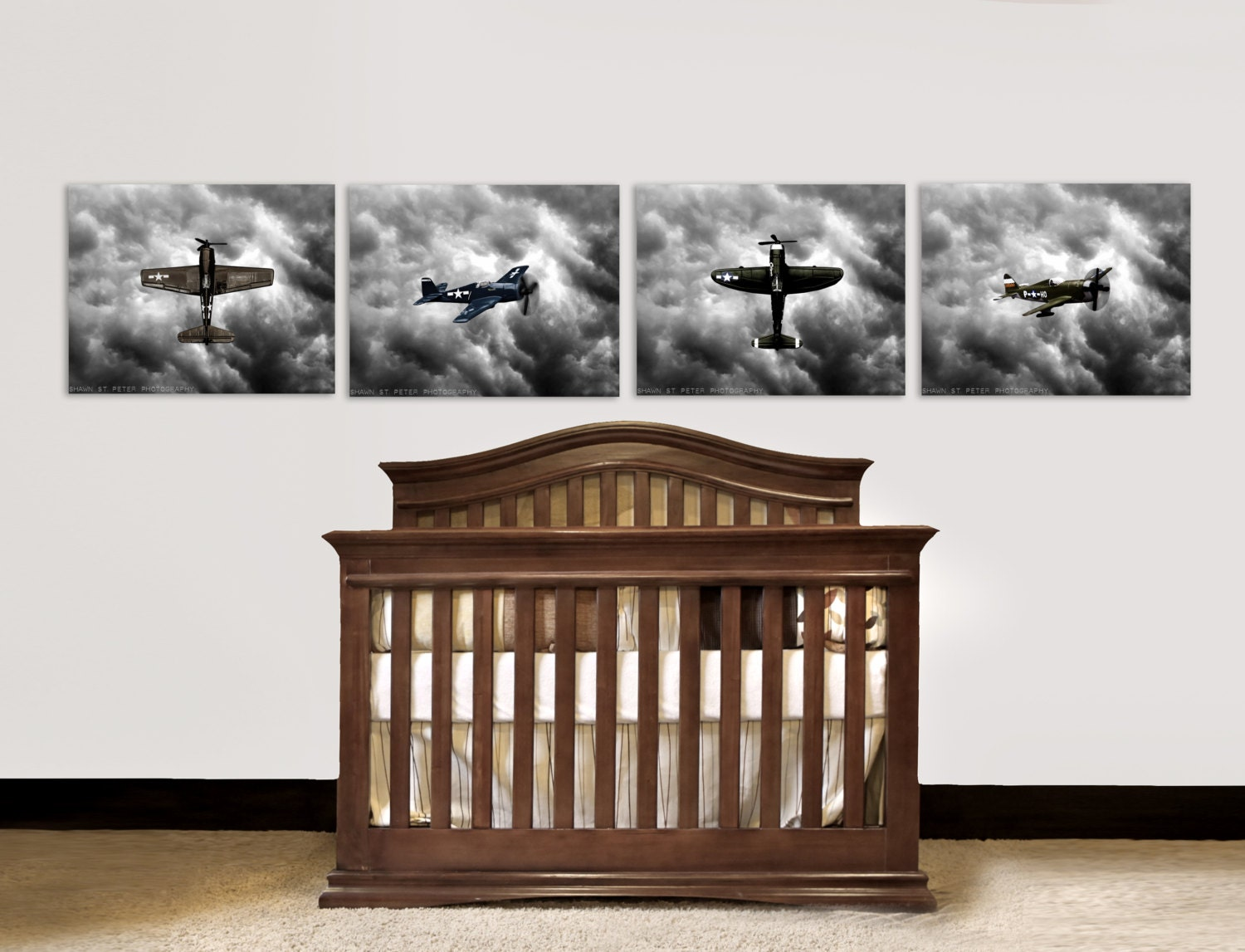 Nursery decor vintage airplanes baby room ideas by Vintage airplane decor for nursery