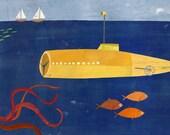 Submarine and Octopus Canvas Art Print