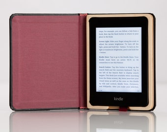 The Kindle Paperwhite Case - Onyx Black with Cranberry Red Interior