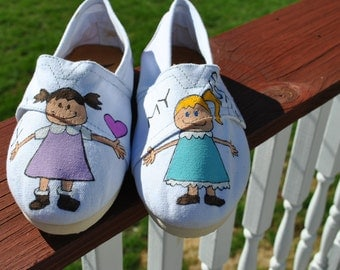 ON SALE Sisters Hello I Love My Sister hand painted  Tom like sneakers size 8.5
