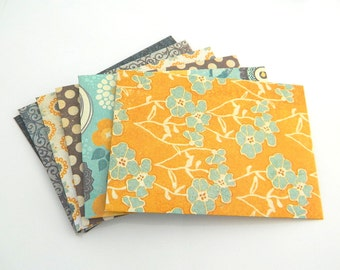 Colorful Envelopes - Handmade - Set of 6 - Blue, Mustard, Green, Warm, Yellow, Brown, Teal, White, Figures, Party Favor, Bachelor Favor
