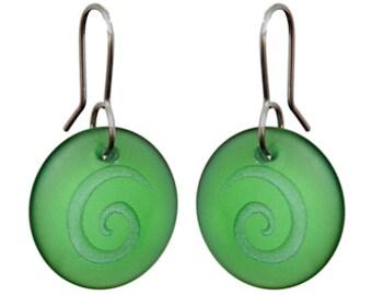 Green Glass Spiral Discs.