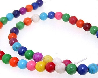 Charm 8MM Round Mixcolor Howlite Turquoise Gemstone Beads One Strand