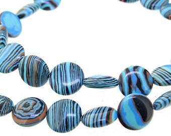 12mm Coin Blue Black  Malachite jasper Malachite Jasper Gemstone Beads Full Strand 15""