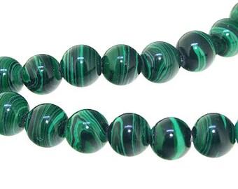 "8mm  Round Green Malachite jasper   Malachite Jasper Gemstone Beads Full Strand 15"""