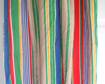 Colorful Striped Vintage Cotton Fabric- 4 Plus Yards- Red, Yellow, Blue, Green Striped Fabric