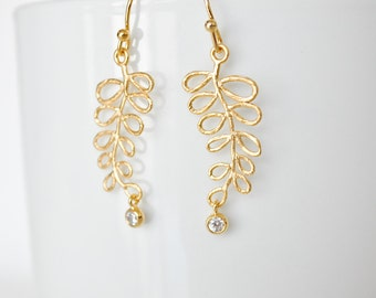 ON SALE Gold plated and Cubic Zirconia Leaf earrings