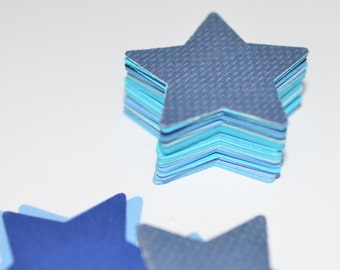 Die Cut Stars, Die Cut Blue Stars, Medium Sized Cardstock Stars, 50 Count, Birthday Party Confetti, Shades of Blue