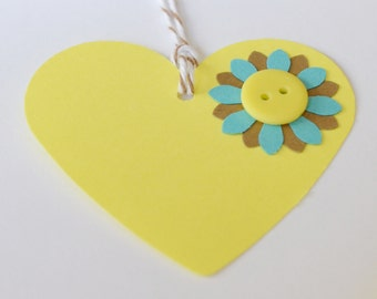 Gift Tag, Gift Label with Button, Teal Yellow Brown Heart Tags, Die Cut Heart Tag, Paper Heart, Set of Ten