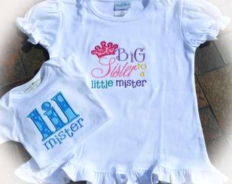 Boutique Big Sister to a Little Mister Ruffled Shirt with Crystals and Lil Mister Boutique Bodysuit