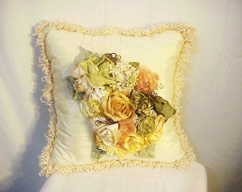 Christmas Gift! Romantic Custom Decorator Ivory Silk Moire Pillow w/ Antique Silk Flowers