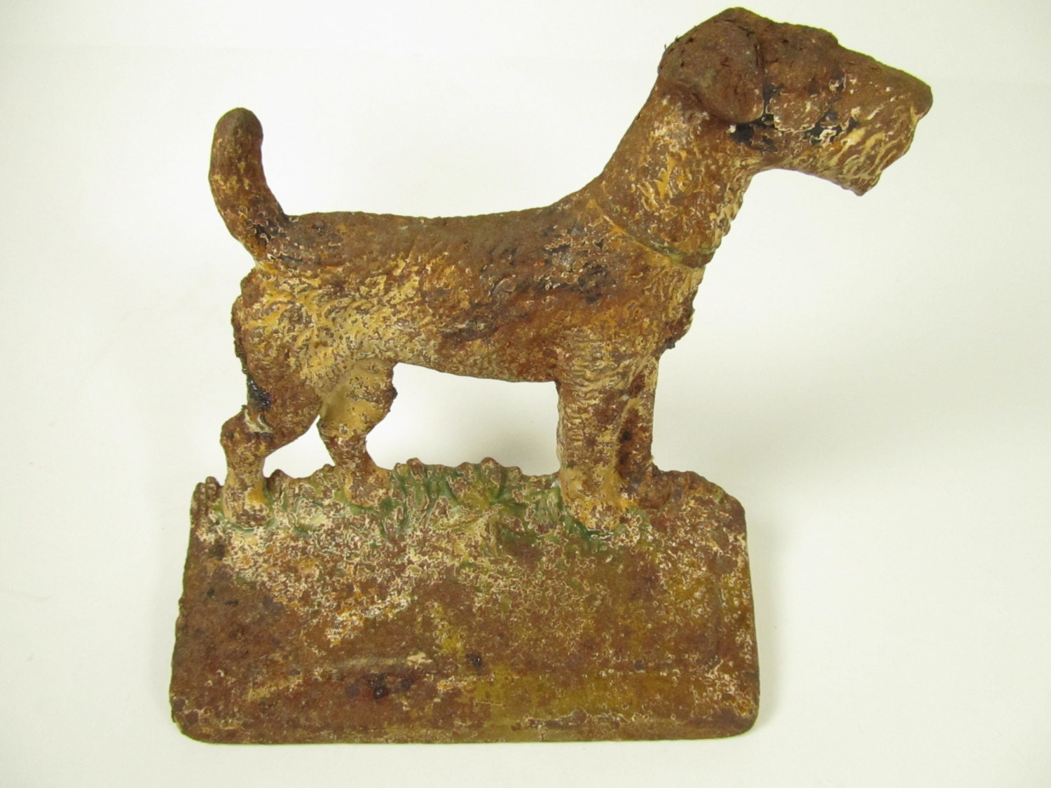 Cast iron fox terrier dog bookend or doorstop - Cast iron dog doorstop ...