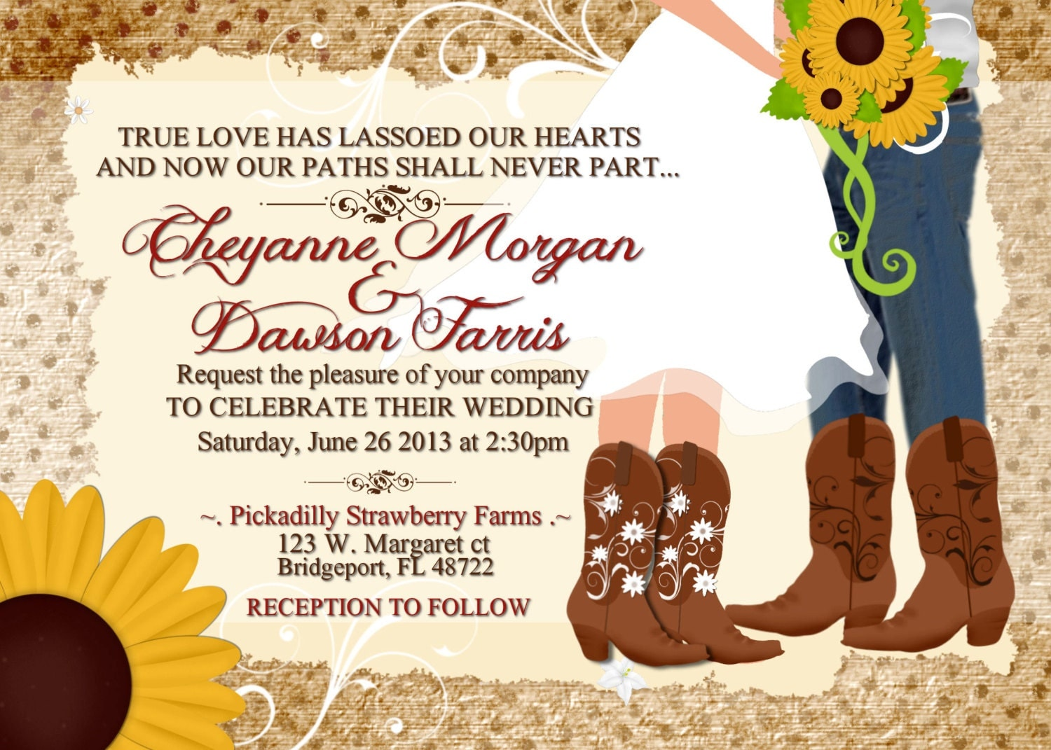 Boots Wedding Invitations: Cowboy Boot's Sunflower Wedding Printable Invitation