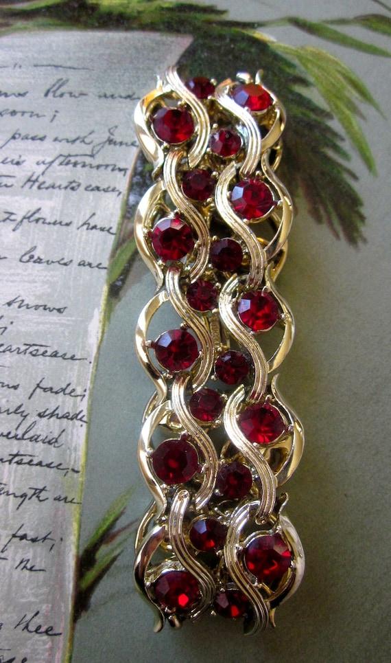 Vintage RED Rhinestone Signed KRAMER Bracelet