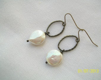 Freshwater Coin Pearl and Antique Brass Earrings