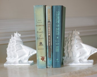 Vintage Cast Iron Yankee Clipper Ship Bookends - Shabby Chic White