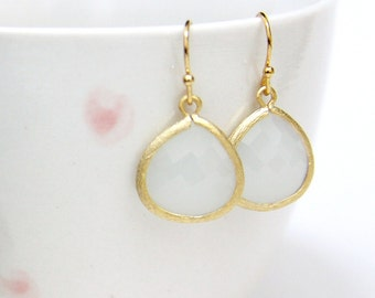Gemma. Milky Opal Faceted Glass Stone Pendant Earrings Gold